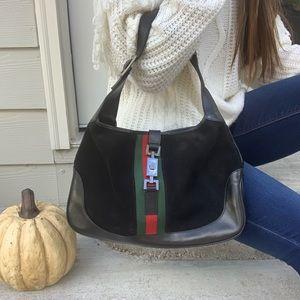Gucci Web Suede Jackie Shoulder Bag